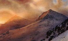 Evening light - Snowdon & Crib Goch, an original watercolour painting by Rob Piercy