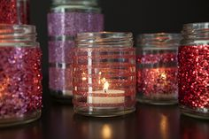 #DIY - how to easily glitter glass jars using only double sided craft tape!