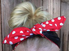 Dolly bow headband red white and black reversable by ScarlettBows