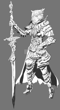 Commission - Nshade3d by Rousteinire on DeviantArt  Key: Final Fantasy, XIV, Miqo'te, paladin, gladiator