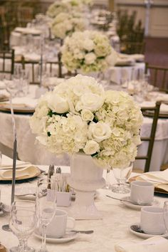 White wedding centrepieces