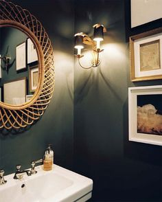 dark walls could be fun....did my brother's half bath in black with silver accents when he was single. i loved it!