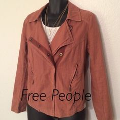 Free People Jacket This jacket is a reddish/purple colored thicker linen. It's an almost motorcycle style and crosses in the front. Excellent condition. Size M but would work for a Large as well. Free People Jackets & Coats