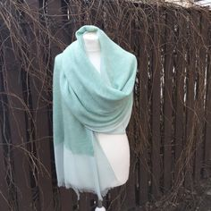 MINT scarf Lightweight scarf Scarf pure chiffon and merinowool Long lightweight scarf  Mint wrap Spring shawl Gift for her, merino