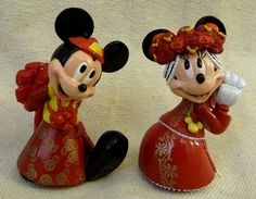 2.5 Tall Chinese traditional wedding outfit Mickey and Minnie Wedding Bride and Groom PVC figurine CUPCAKE CAKE TOPPER / TABLE DECORATION ~ Disney Wedding ~ Hong Kong Disneyland >> Stop everything and read more details here! : baking decorations
