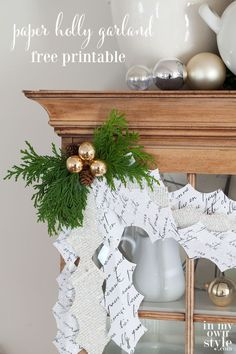 Christmas paper craft decorating idea. Create this paper Christmas holly garland using a free printable leaf design to cut our and step-by-step photo tutorial. | In My Own Style