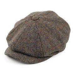 edd19c224ead8 Failsworth Hats Carloway Harris Tweed Newsboy Cap - Olive-Blue