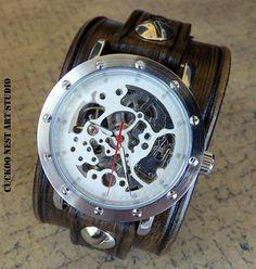 Skeleton Leather Watch Cuff Men's watch by CuckooNestArtStudio