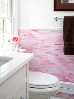 Add Style To Your Bathroom With Subway Tile Ideas Home Decor Tiling Designer Elissa Grayer Used Monochromatic White And Pink