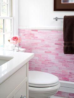 bathrooms - Waterworks Glass Subway Tiles -Pink pink subway tiles backsplash brown towel ivory single ivory bathroom vanity marble countertop. ---That tile is beautiful