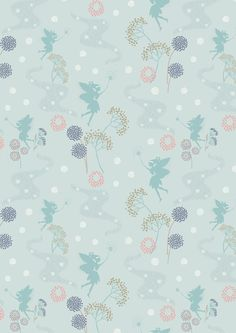 Make A Wish Fairy on Duck Egg by Lewis & Irene. New for spring/summer Patchwork Fabric, Cotton Quilting Fabric, Make A Wish, How To Make, Dressmaking Fabric, Duck Egg Blue, Floral Illustrations, Digital Pattern, Wallpaper Backgrounds
