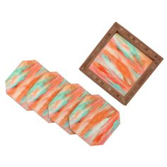 Rosie Brown Sunset Sky Coaster Set | DENY Designs Home Accessories #coaster #bar #beverage #homedecor #forthehome #denydesigns #art #abstract #denyholiday