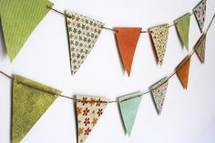6 Crafty DIY Decorations for Thanksgiving: Recycled Cards Bunting Make Bunting, Fabric Bunting, Bunting Flags, Make Your Own, Make It Yourself, How To Make, Picnic Decorations, Holiday Decorations, Do It Yourself Inspiration