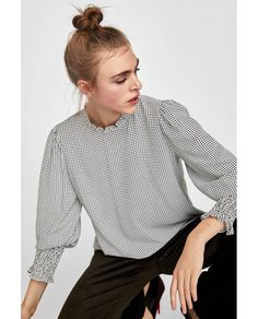 TWO-TONE PRINTED BLOUSE-View all-TOPS-WOMAN   ZARA United States