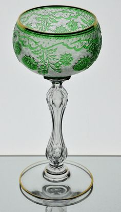 Baccarat / St Louis Emerald Green Cut to Clear Acid Cut Cameo Goblet Vintage in Pottery & Glass, Glass, Art Glass, French, Baccarat | eBay