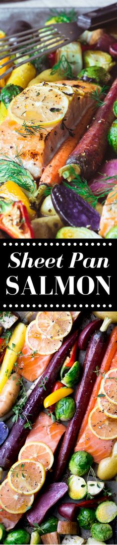 Sheet Pan Salmon with Caramelized Vegetables is a healthy and vibrant 30 minute meal that's also low carb, whole paleo, and delicious! Healthy Dishes, Good Healthy Recipes, Healthy Cooking, Easy Dinner Recipes, Healthy Eating, Cooking Recipes, Easy Meals, Salmon Recipes, Fish Recipes