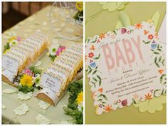 This floral invitation sets the tone for a beautiful baby shower theme.