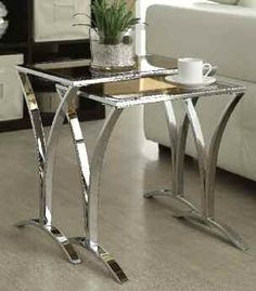 Amaya 2Pc Pack Side Tables 5Mm Tempered Smoky Glass