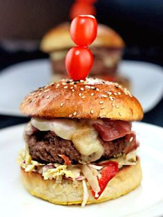Fat Doug Burger - Juicy Burger with Pastrami, Swiss Cheese and Slaw