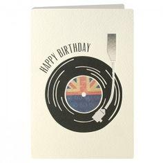 Birthday Record Retro Press Card
