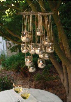 DIY glitter mason jars candle outdoor chandelier on tree - tree decor, handmade mason jars