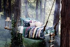 No need to build a whole tree house.just a tree bed! I bed it would rock a bit too. Very rock a by baby in the tree tops huh? Outdoor Spaces, Outdoor Living, Outdoor Decor, Outdoor Bedroom, Outdoor Beds, Outdoor Fabric, Outdoor Tub, Feng Shui, Tree Bed