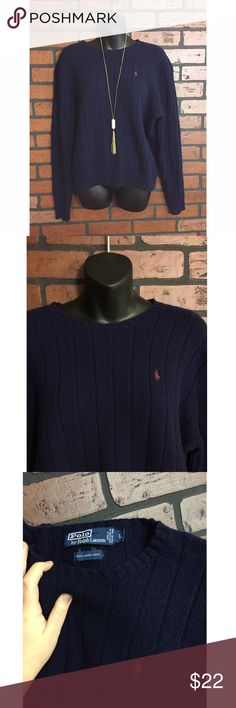 Ralph Lauren 100% Lambs Wool Sweater Ralph Lauren Polo. Size large. 100% lambs wool. Navy blue. Gently worn but still In good condition. Stretchy Polo by Ralph Lauren Sweaters Crew & Scoop Necks