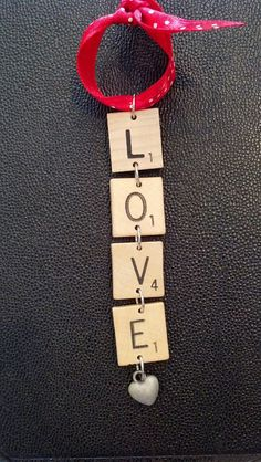 Scrabble Tiles Valentines Day Love Ornament  by recycledseconds, $4.25