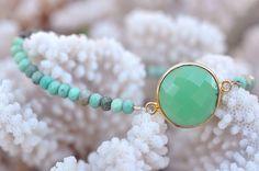 Boho Chic chrysoprase beaded bracelet - Chrysoprase semi precious gemstone bracelet on Etsy, $48.00