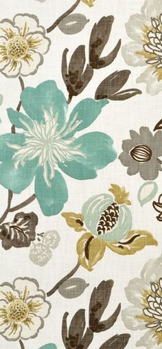 Braemore Gorgeous Pearl floral fabric in turquoise blue, gray and gold tones. Beautiful for bedroom or living drapery – Living Room Blue Living Room Decor, Living Room Colors, Living Room Paint, Living Room Grey, Brown And Cream Living Room, Gray Bedroom, Trendy Bedroom, Do It Yourself Home, Kitchen Colors