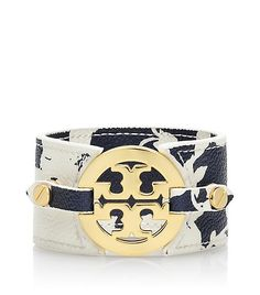 Tory Burch navy white printed leather cuff