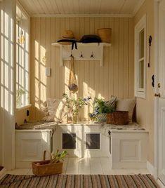 Swedish Cottage, Sweden House, Fresh Farmhouse, Lit Wallpaper, Cozy Nook, Wood Panel Walls, Banquette, House Built, Scandinavian Home