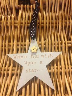 "A Wooden star keepsake with the words ""when you wish upon a star"" hand printed onto it. A small wooden star embellishment has been added. The star is approximately diameter. Wooden Stars, Embellishments, Wish, My Etsy Shop, Prints, Handmade, Stuff To Buy, Ornaments, Hand Made"