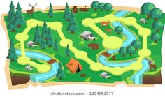 Forest Jungle Game Maps with Path and Green land with Bear, Mouse Deer, Tent, Rivers, stone and Trees for Platform Vector Illustration Cartoon Background, Game Background, Map Games, Board Games, Forest Cartoon, Mouse Deer, Forest Games, Forest Map, Game 2d