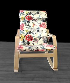 White Flowers Ikea Poang Chair Cover Customized Flower Print