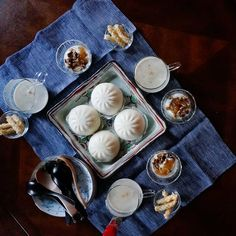 bkf = pork buns with Hineri-a-ga fried rice cracker, potato puree soup, yogurt with walnuts and fig jam  on my daily life and tagged bkf, breakfast, diet, healthy, matchaatnoon, menu, morning, on my daily life, pork bun, soup, walnuts, yogurt