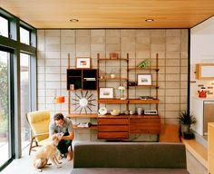 Jake Stangel | Mid Century Modern living room | Danish teak wall unit