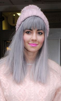 Marina Diamandis sporting a new fringe and yep, grey hair