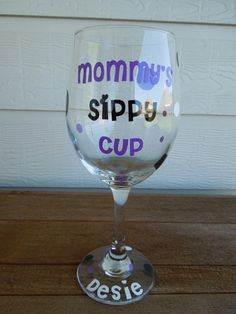 Perfect gift for a new mom! Or any mom :o)  Mommy's Sippy Cup Wine Glass - LARGE - Personalized. $12.50, via Etsy.