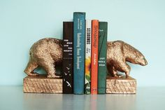How to Make Gilded Polar Bear Bookends - this is a super cool idea, would love to do this with another animal...