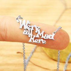 We're All Mad Here Necklace, Alice In Wonderland Bracelet, Wonderland... ($15) ❤ liked on Polyvore featuring jewelry, necklaces, cat jewelry and cat necklace