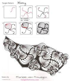 Online utasítások rajz Marieke van Nimwegen a Zentangle® minta: Kozy .: