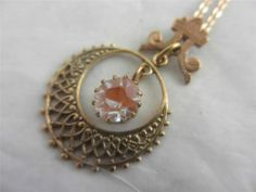 ANTIQUE c1910 EDWARDIAN SAPHIRET GLASS PENDANT NECKLACE