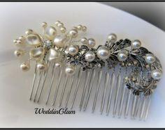Wedding Hair Accessories Midnight blue wedding comb by WeddinGlam