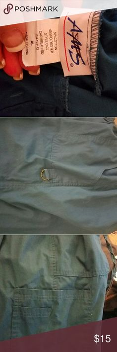 Scrub Pants Dark teal color, drawstring/elastic waist, slash pockets in front, equipment hook on left thigh, double pocket on right thigh. Worn once. AMS Pants