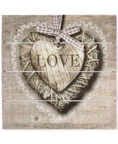 Graham & Brown Love Print on Wood - Tan/Beige