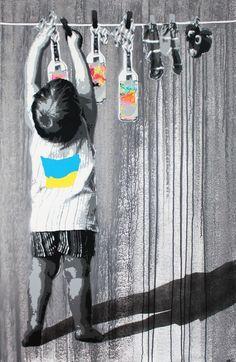 Street Art By Kurar - Clermont (France)--Tanks that Get Around is an online stor. Urban Street Art, Best Street Art, Amazing Street Art, 3d Street Art, Street Art Graffiti, Street Artists, Amazing Art, Banksy, Graffiti Murals