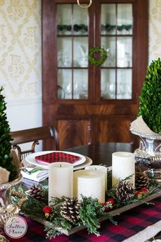 Easy Christmas Decorating Ideas | Festive, Fun & Fast | DIY inspiration for decorating your home for the holidays on a budget.  Christmas candle centerpiece, preserved boxwood trees.