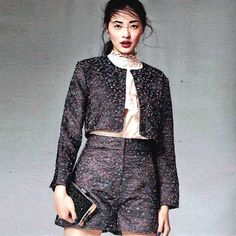 Multicoloured sparkle co-ord in the Electric Rainbow Jacket & Shorts featured in @lookmagazine last week