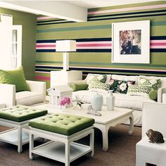 The striped walls have several of the colors in Alana's room. I believe this is a Mary McDonald room. Painting Stripes On Walls, Paint Stripes, Wall Stripes, Green Stripes, Navy Green, Teal Orange, Green Accents, Emerald Green, Mary Mcdonald